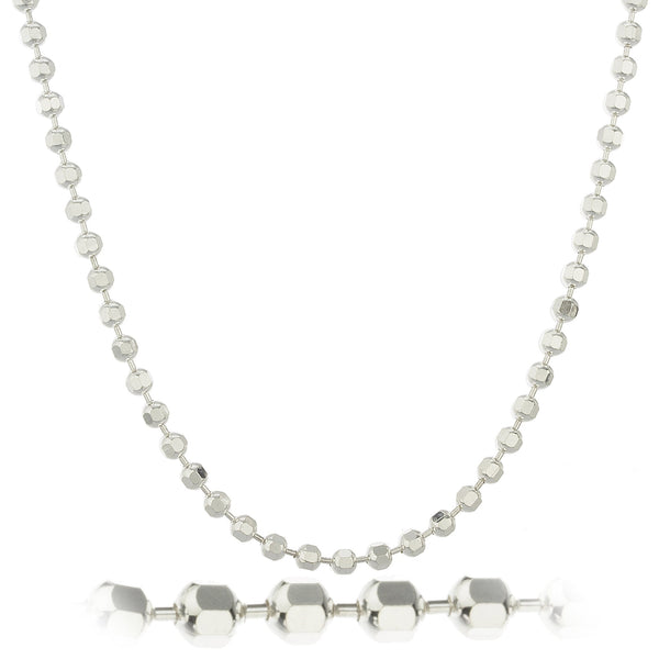 Mens 925 Sterling Silver 4mm D-cut Ball Chain Necklace