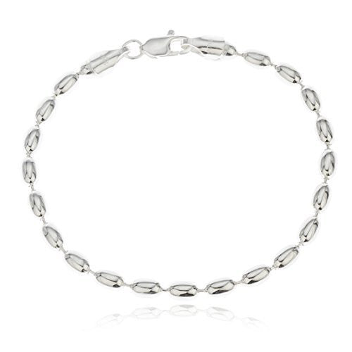 Mens 925 Sterling Silver 4mm Oval...