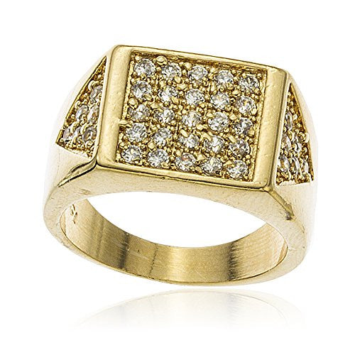 Mens Gold Layered Iced Out Square And Side Triangle Ring With Cubic Zirconia Sizes 9-12