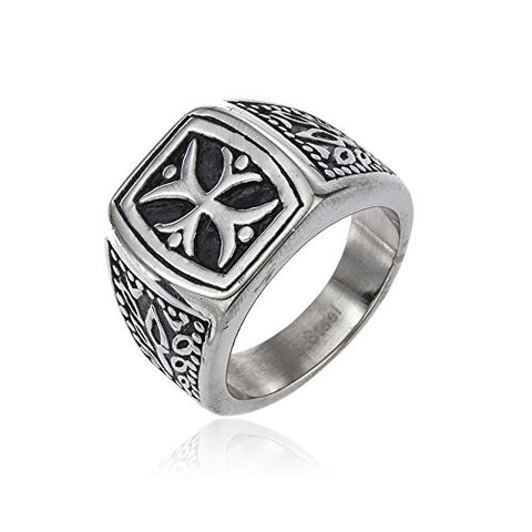 Mens Stainless Steel Iron Cross Biker Ring Sizes 9-13