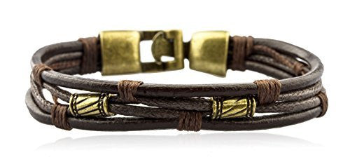 Mens Vintage Leather Wrap Wrist Band...