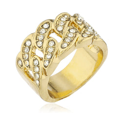 Mens Goldtone Iced Out Ring Cuban Link Design with Stones