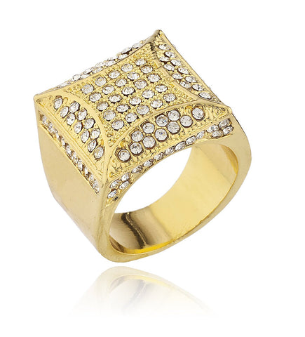 Mens Goldtone Iced Out Ring