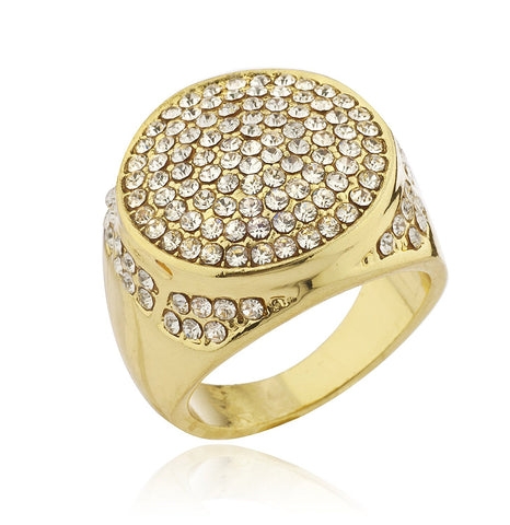 Mens Goldtone Iced Out Ring with Circular Border