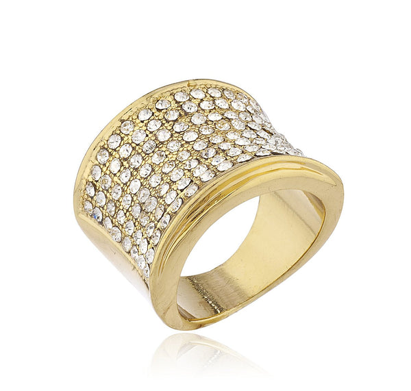 Mens Goldtone Iced Out Ring with Curved Feature