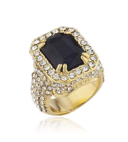 Mens Goldtone Iced Out Ring with Faux Black Gemstone
