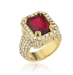 Mens Goldtone Iced Out Ring with Faux Ruby Gemstone