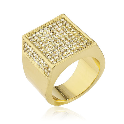 Men's Goldtone Iced Out Ring with Inner Rectangular Border