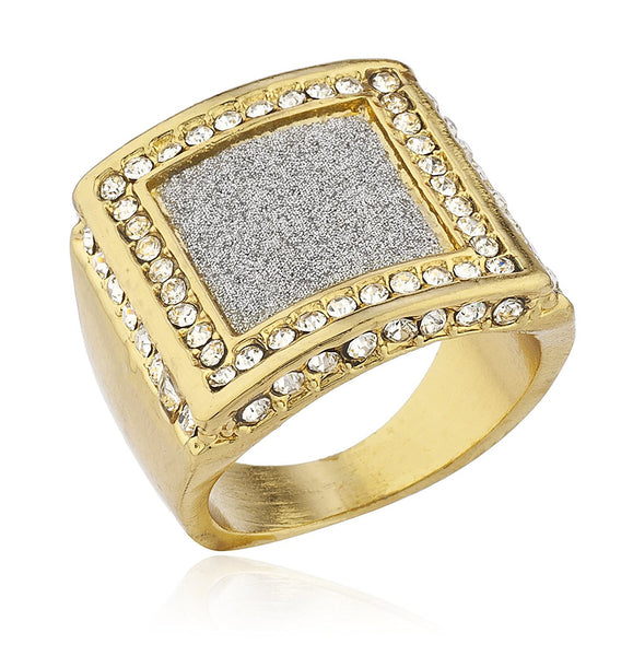 Mens Goldtone Iced Out Ring with Sandblasted Inner Square
