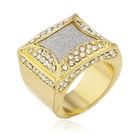 Men's Goldtone Iced Out Ring with Sandblasted Inner Design Sizes 7-10