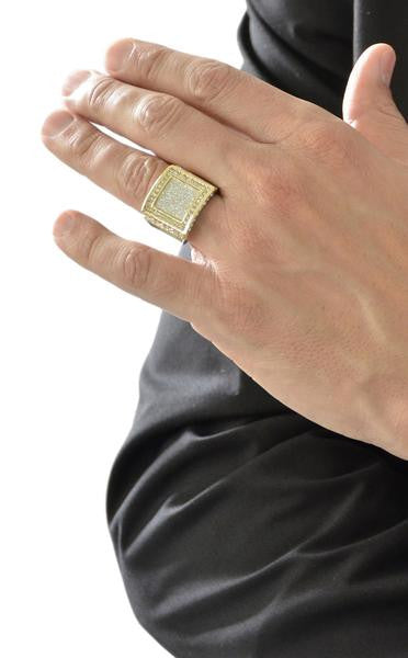 Mens Goldtone Iced Out Ring with...