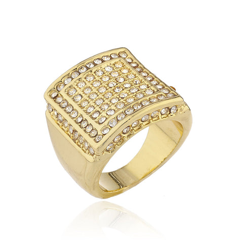 Mens Goldtone Iced Out Ring with Square Border