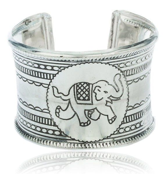 Metallic Cuff Bangle With Elephant Design