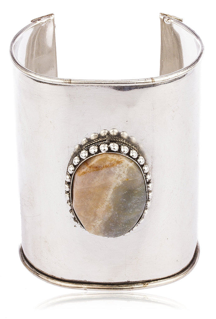 Metallic Cuff Bangle With Light Multicolor...