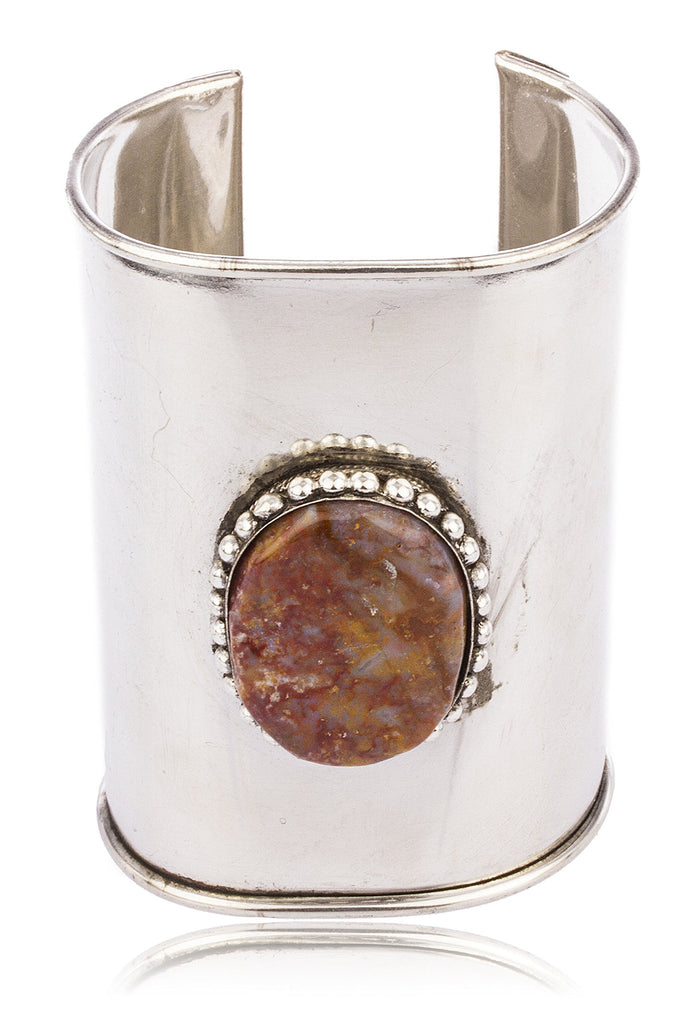Metallic Cuff Bangle With Red Multicolor...