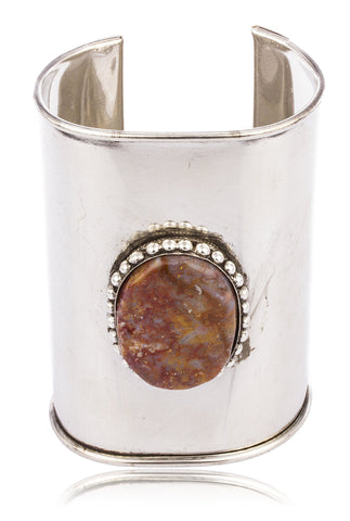 Metallic Cuff Bangle With Red Multicolor Stone Beaded Rim Bracelet