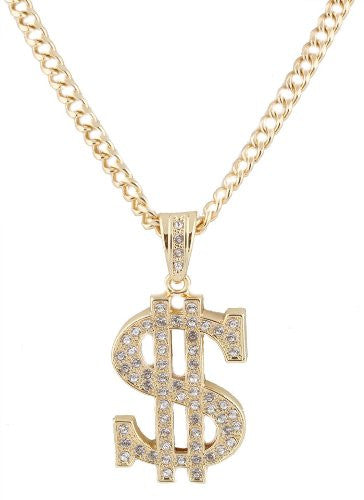 Metallic Goldtone With Clear Iced Out Dollar Sign Pendant With A 36 Inch Cuban Chain Necklace