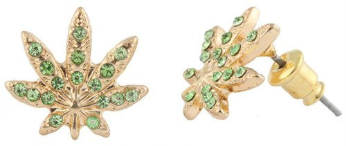 Metallic Goldtone With Green Iced Out Marijuana Leaf Stud Earrings