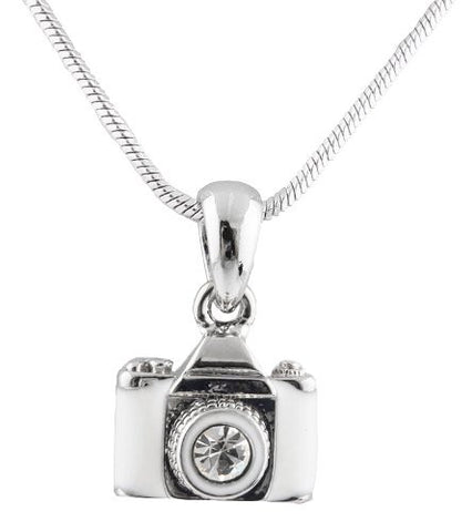 Metallic Silvertone With Glossy White And Clear Camera With Center Stone Lens Pendant With A 16 Inch Snake Franco Chain Necklace