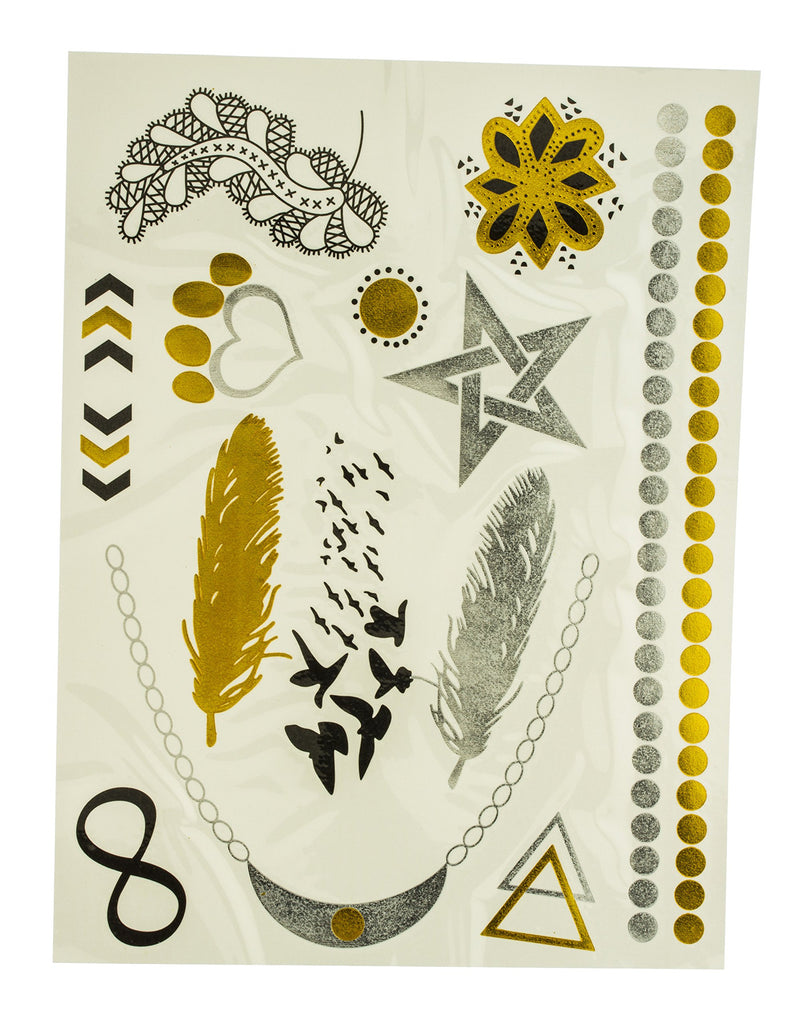 Metallic Temporary Tattoos Birds And Assorted...