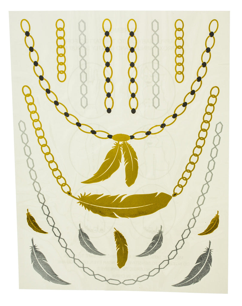 Metallic Temporary Tattoos Feathers And Chain...