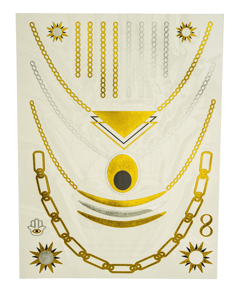 Metallic Temporary Tattoos Sun And Necklace...