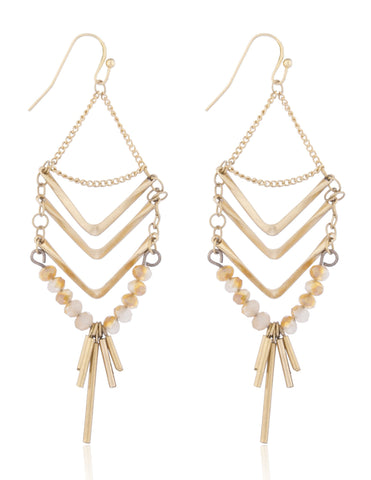 Multi Layer Chevron Style Dangle Earrings With Stones (Goldtone)