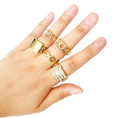 Multi Stacked Chain And Knot Midi And Finger Ring Set (Goldtone)