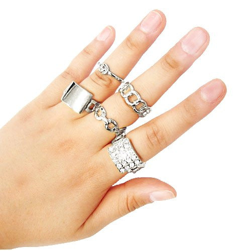 Multi Stacked Chain And Knot Midi And Finger Ring Set (Silvertone)