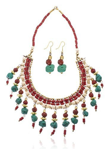 Multicolor Bohemian Statement Necklace And Matching Earrings Jewelry Set