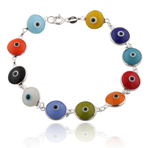Multicolored Rainbow Style Real 925 Sterling Silver 7 Inch Evil Eye Bracelet