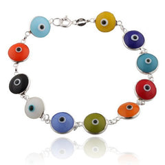 Multicolored Rainbow Style Sterling Silver Evil Eye Bracelet