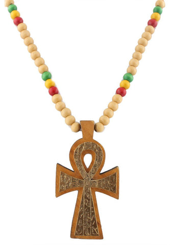 Natural With Goldtone And Multicolors Wooden Rasta Ankh Hieroglyph Pendant And 36 Inch Necklace Chain