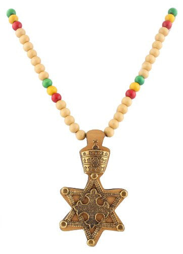 Natural With Goldtone And Multicolors Wooden Rasta Star Of David Pendant And 36 Inch Necklace Chain