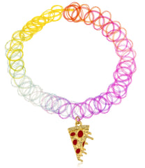 Neon Multi Color Elastic Stretch Choker With Dangling Pizza Charm
