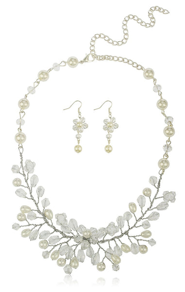 Off White Bridal Style Branches Design Of Simulated Pearl And Rhinestones 20 Inch Adjustable Necklace With Matching Earrings Jewelry Set