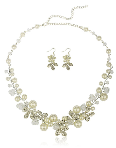 Off White Bridal Style Floral And Petals Designs Of Simulated Pearl And Rhinestones 20 Inch Adjustable Necklace With Matching Earrings Jewelry Set