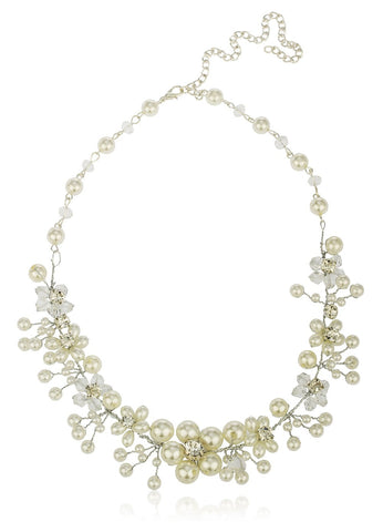 Off White Bridal Style Floral Designs Of Simulated Pearl And Rhinestones 20 Inch Adjustable Necklace With Matching Earrings Jewelry Set