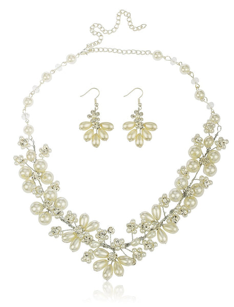 Off White Bridal Style Simulated Pearl And Rhinestones 20 Inch Adjustable Necklace With Matching Earrings Jewelry Set