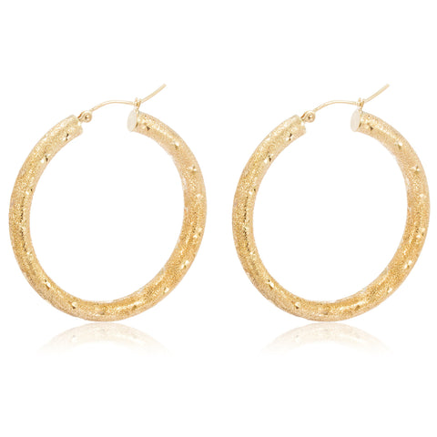 Pair Of Real 10k Yellow Gold 4mm 1.5 Inch (38.1mm) Frosted Hoop Earrings