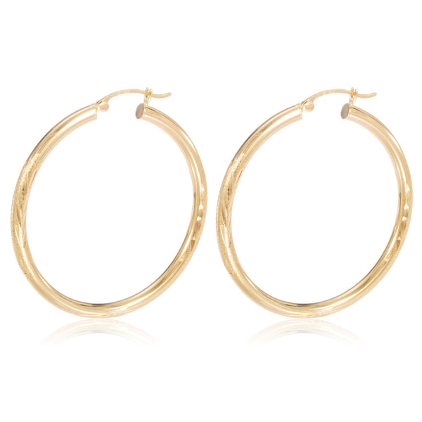 Pair Of Real 14k Yellow Gold 3mm .75 Inch (20mm) Hoop Earrings With Elegant Design