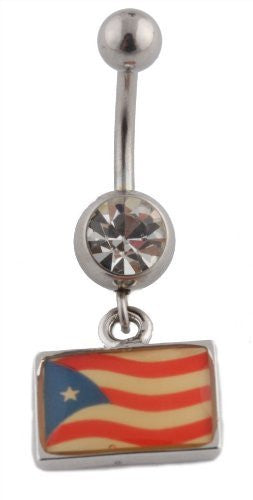 Puerto Rican Flag with Clear Stones Belly Ring