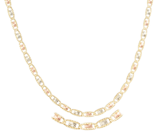 Real 10k Tri Tone Gold 3.5mm 18 Inch Solid Valentino Chain Necklace