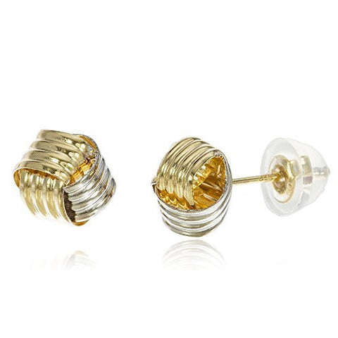 Real 10k Two Tone 8mm Basket Weave Knot Studs With Silicone Back