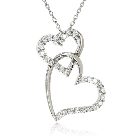 Real 10k White Gold 'Love Forever' Pendant With Cubic Zirconia Stones And A 925 Sterling Silver 18 Inch Link Necklace