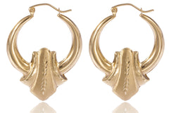 Real 10k Yellow Gold 1.45 Inch Fleur Style Bamboo Pincatch Pair Of Earrings