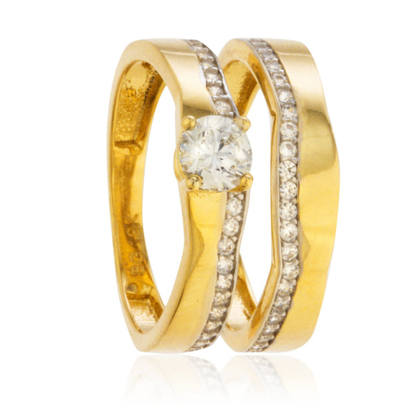Real 10k Yellow Gold 2 Piece Four Prong Engagement Ring Set With Simple Cubic Zirconia Designs