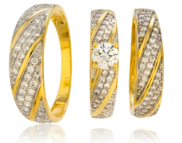 Real 10k Yellow Gold 3 Piece Womens And Mens Trio Engagement Rings With Cubic Zirconia Stripe Designs