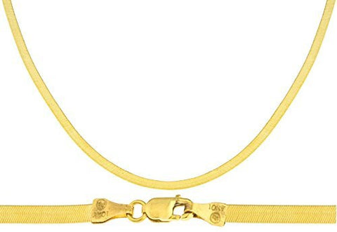 "Real 10k Yellow Gold 3mm Herringbone Chain Necklace - Available In 16"", 18"", 20"", 24"" (20 Inches)"