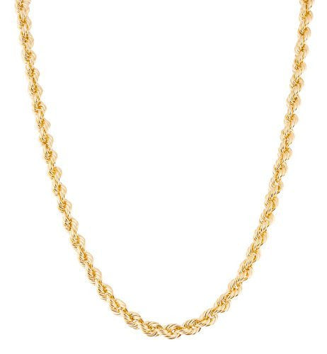 "Real 10k Yellow Gold 4.5mm Rope Chain Necklace - 24"" & 30"" Available"